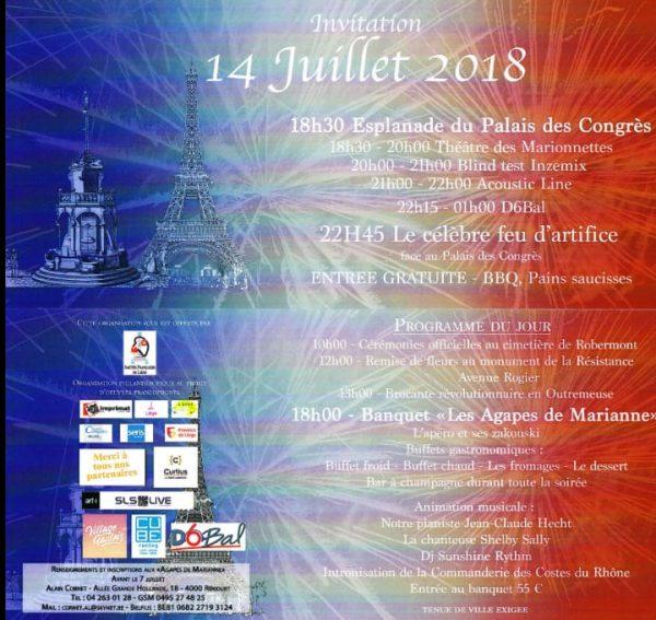 Célébrez le 14 juillet à Liège - Edition 2018
